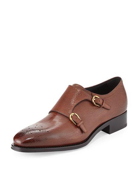 Salvatore Ferragamo Galati Double Monk-Strap Textured Loafer,