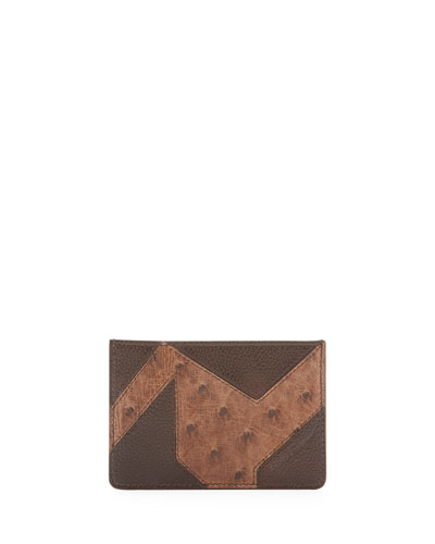 Patchwork Leather & Ostrich Card Case