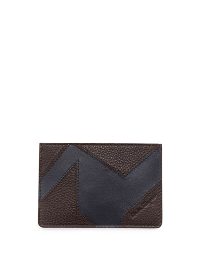Leather Patchwork Flat Card Case, Fondente/Navy