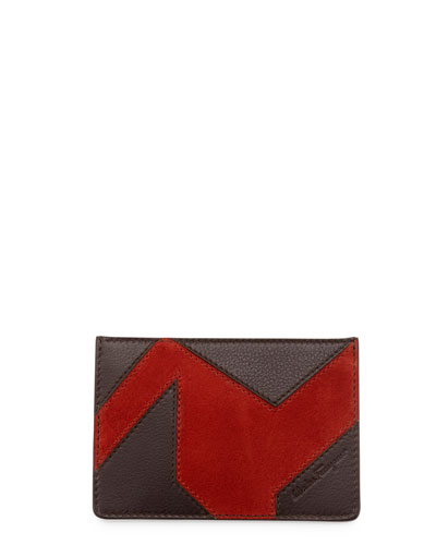Leather & Suede Patchwork Flat Card Case, Tmoro/Coral