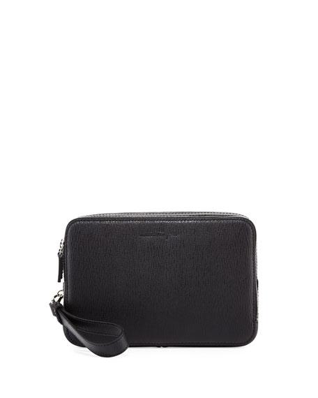 Salvatore Ferragamo Revival Men's Leather Clutch Bag, Black