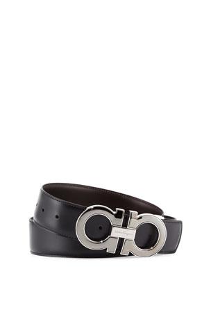 Salvatore Ferragamo Men's Reversible Leather Gancini-Buckle Belt, Black/Brown