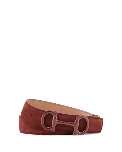 Parigi Suede Gancini-Bit Belt, Brown
