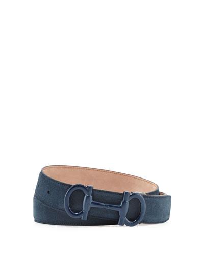 Parigi Suede Gancini-Bit Belt, Blue