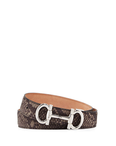 Parigi Snakeskin Gancini-Bit Belt, Brown