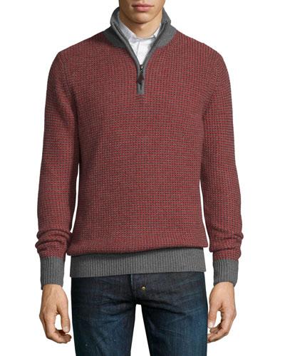 Textured Cashmere Quarter-Zip Sweater, Claret/Gray Flannel
