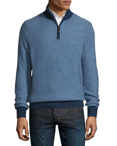 Textured Cashmere Quarter-Zip Sweater, Navy/Denim/Sky