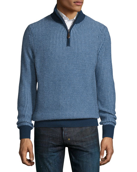 Private Label Textured Cashmere Quarter-Zip Sweater, Navy/Denim/Sky