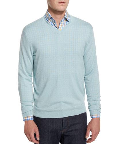 Cashmere-Silk V-Neck Sweater, Mint