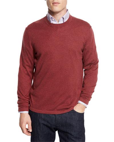 Cashmere-Silk Crewneck Sweater, Sunset