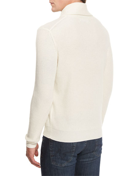 Neiman Marcus Shawl-Collar Ribbed Pullover Sweater, Vanilla