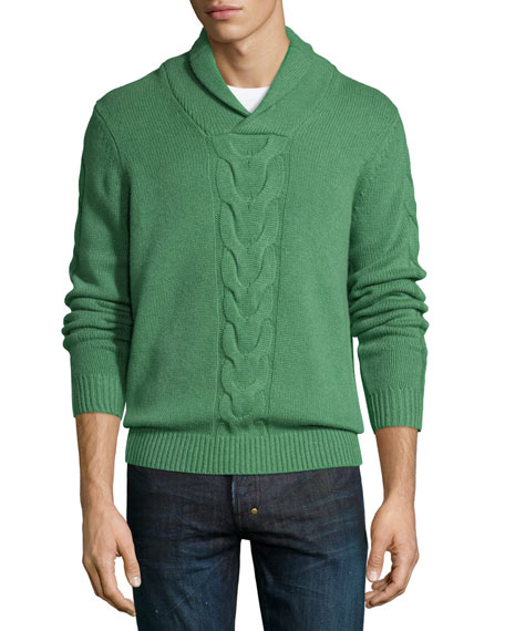Neiman Marcus Cashmere Shawl-Collar Cable-Knit Pullover, Grass