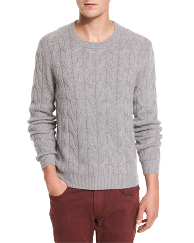 Cashmere Cable-Knit Sweater, Heather Gray