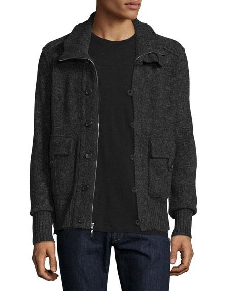 Neiman Marcus Cashmere Button-Zip Cardigan Jacket, Derby