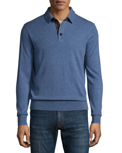 Cashmere Long-Sleeve Polo Sweater, Denim