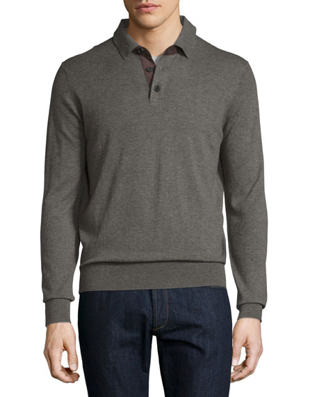Neiman Marcus Cashmere Long-Sleeve Polo Sweater, Dark Smoke