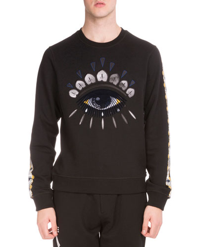 Embroidered Icon Crewneck Sweatshirt, Black