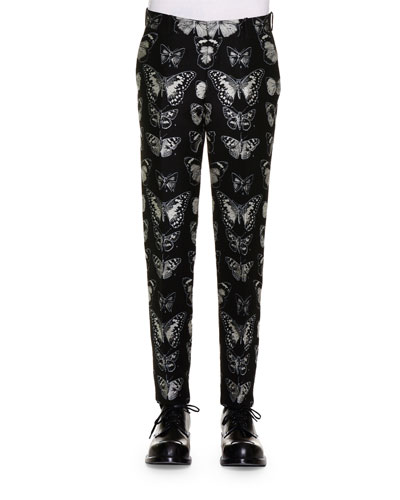 Moth-Jacquard Trousers, Black/Silver