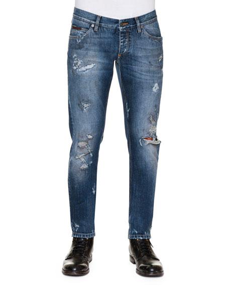 Dolce & Gabbana Distressed Dirty-Wash Denim Jeans, Blue
