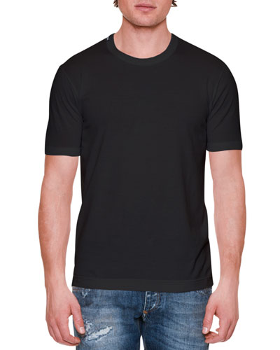 Basic Short-Sleeve Crewneck Tee, Black