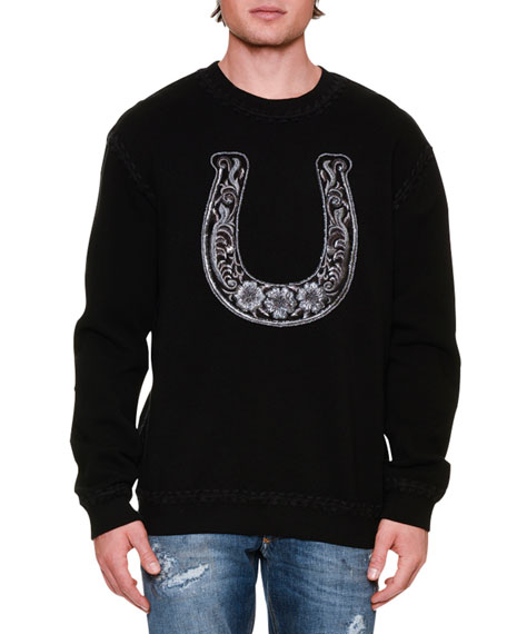 Dolce & Gabbana Embroidered Horseshoe Crewneck Sweatshirt, Black