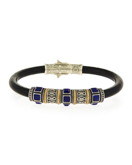 Blue Lapis Etched Bracelet
