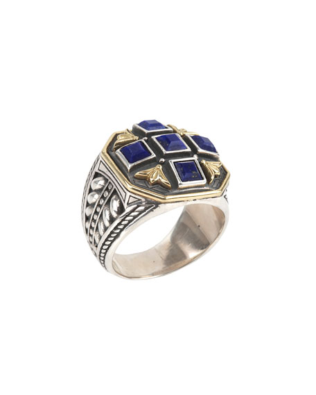 Men's Sterling Silver & 18K Gold Signet Ring with Lapis, Size 10