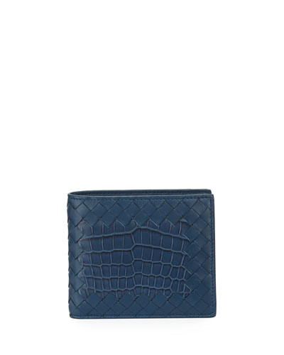 Intrecciato Leather Wallet w/Crocodile Inset