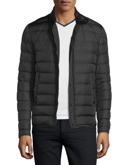 Moncler Hanriot Quilted Down Moto Jacket, Black