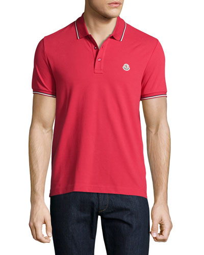 Tipped Piqué Polo Shirt, Burgundy