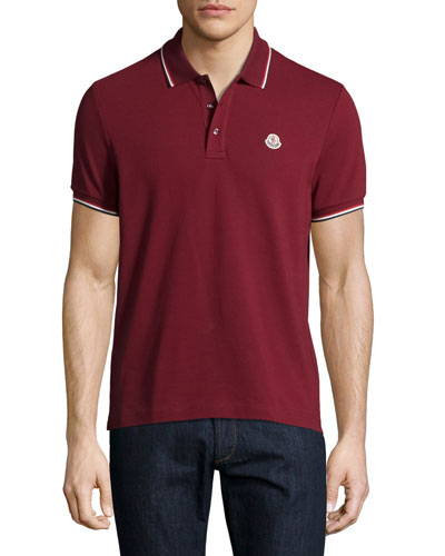 Tipped Piqué Polo Shirt, Red