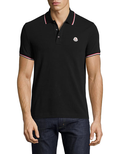 Tipped Piqué Polo Shirt, Black