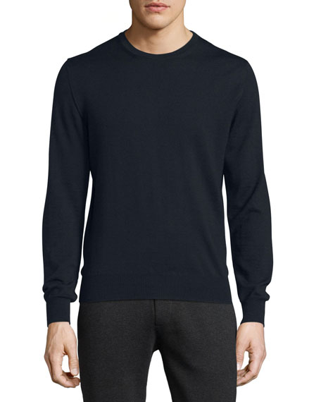 Virgin Wool Logo Crewneck Sweater, Navy