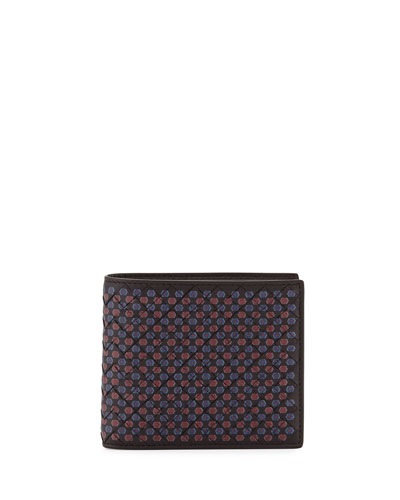 Multicolor-Dot Woven Leather Wallet, Chocolate