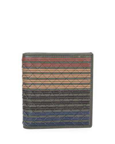 Men's Multi-Striped Woven Leather Fold-Over Card Case, Chocolate