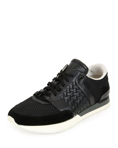 Woven Leather Running Sneaker, Black