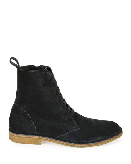 Suede Lace-Up Boot, Gray