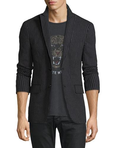Two-Button Peak-Lapel Striped Jacket, Asphalt Gray