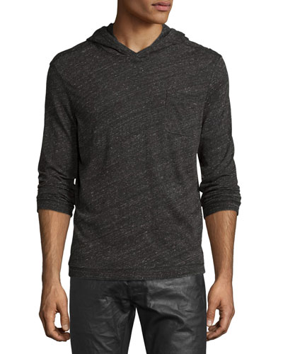 Marled Knit Pullover Hoodie, Coal