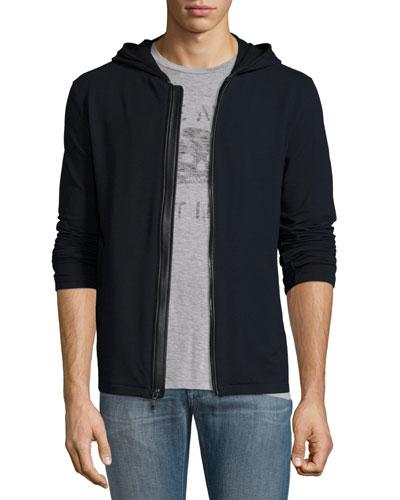 Leather-Trim Front-Zip Hoodie