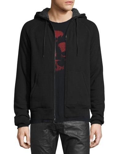 Fleece-Lined Front-Zip Hoodie, Black