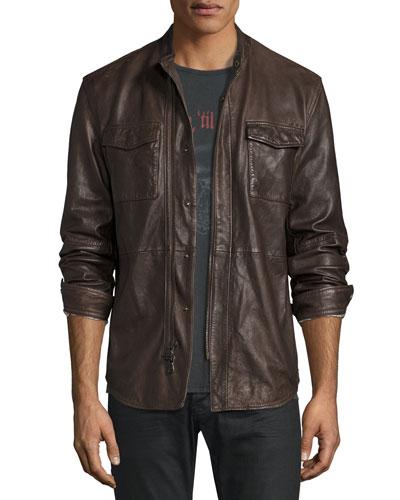 Leather Shirt Jacket, Dark Brown