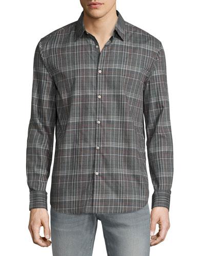 Plaid Slim-Fit Sport Shirt, Silver Heather