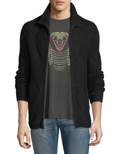 Funnel-Neck Front-Zip Sweater, Charcoal Heather