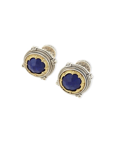 Blue Lapis Round Cuff Links