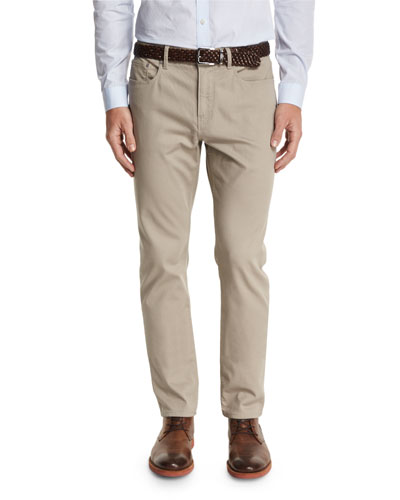 Five-Pocket Stretch Canvas Trousers, Mushroom
