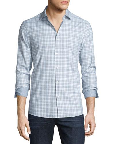 Isaac Slim-Fit Plaid Sport Shirt, Powder Blue