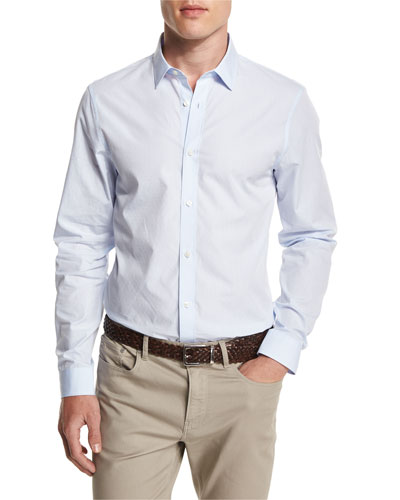 Dobby-Print Slim-Fit Sport Shirt, Steel Blue