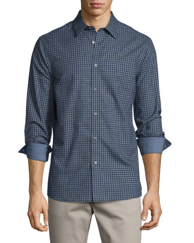 Perkin Tailored-Fit Check Sport Shirt, Bright Navy