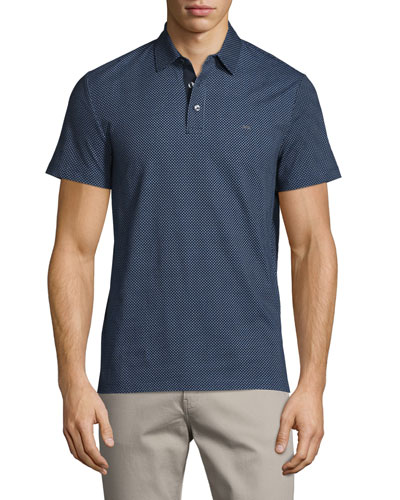 Dot-Print Short-Sleeve Polo Shirt, Midnight